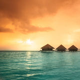 Over water bungalows with steps Royalty Free Stock Photos
