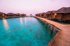 Over water bungalows with steps into amazing green lagoon Royalty Free Stock Images