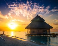 Over water bungalows with steps Stock Photos