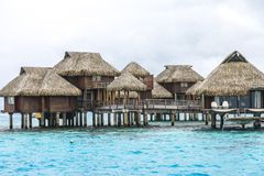 Over Water Bungalows in Tahiti Stock Image