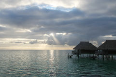 Over the water bungalows in Tahiti Royalty Free Stock Photography