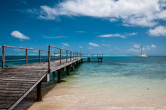 Over Water Pier In The Lagoon Of French Polynesia Stock Photos