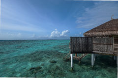 Over water  resort with  ocean with horizontal line Stock Photography