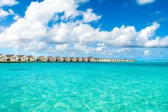 Over water villas in luxury resort Royalty Free Stock Photos