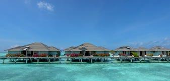 Over water villas panorama view at Maldives Royalty Free Stock Photos