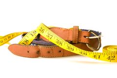 Over weight belt. Belt and tape measure showing notch size in belt stock photography