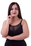 Over weight girl isolated on white background Royalty Free Stock Image