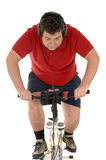 Over weight men Cycling Stock Image