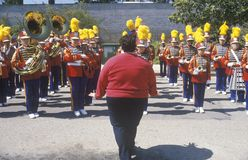 Over weight Woman Directing Marching Band, Pacific Palisades, California Royalty Free Stock Photo