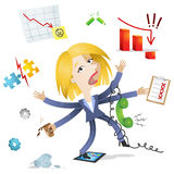 Over-worked business woman Stock Image