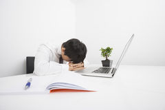 Over-worked mid adult businessman sleeping by laptop at desk Stock Image