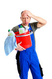 Over-worked professional cleaner Stock Image