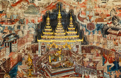 Over 300 year old mural paintings in Thailand. Stock Photography