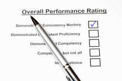 Overall Performance Rating. Checkbox form for employees stock image