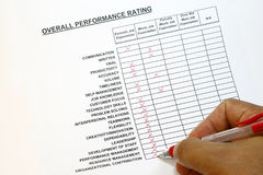 Overall performance rating Stock Image