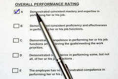 Overall Performance Rating Form 2 stock image