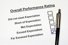 Overall Performance Rating Form 3 Stock Photography