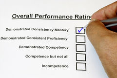 Overall Performance Rating Form Royalty Free Stock Images