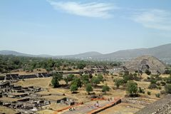 Mexico City. An overall view at the site of Teotihuacan on March 17, 2014 in Mexico City Royalty Free Stock Images