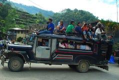 Overbelaste Benguet Jeepney Royalty-vrije Stock Foto