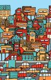 Overbevolking/Overvol stadshoogtepunt van auto's en huizen. stock illustratie