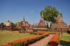 Overblijfsel van boeddhistische tempels in het Historische Park van Sukothai in Thailands stock foto