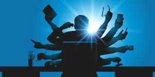 Overbod die zakenmanconcept, door een multi-bewapend karakter wordt gesymboliseerd stock illustratie