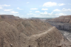 Overburden & the visible coal seam in a mine Royalty Free Stock Photo
