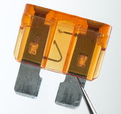 Overburned fuse. Broken by short circuit Stock Photos