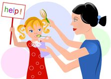 Overcareful mother and her daughter Royalty Free Stock Images
