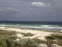 Overcast Beach in Cozumel. A view of a beach in Cozumel on an overcast day Stock Photo
