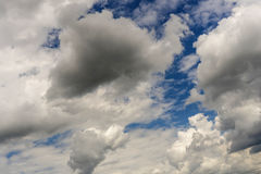 Overcast climate condition with cumulus clouds. Climate condition during overcast day stock photo