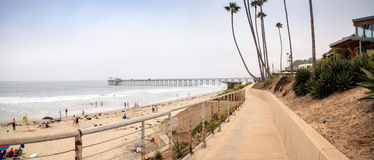 Overcast cloudy day over Scripps pier Beach in La Jolla Royalty Free Stock Image
