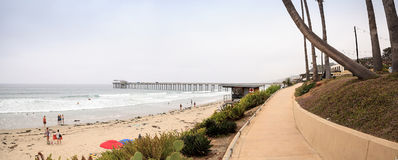 Overcast cloudy day over Scripps pier Beach in La Jolla Stock Photography