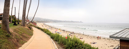 Overcast cloudy day over Scripps pier Beach in La Jolla Royalty Free Stock Photo