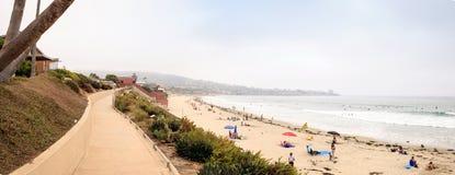 Overcast cloudy day over Scripps pier Beach in La Jolla Stock Image