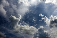 Overcast cloudy skies background. Overcast cloudy skies background, gloomy sky with clouds stock photo