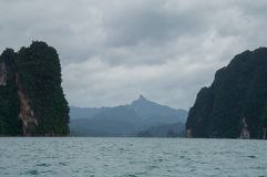 Overcast day on the Cheow Lan lake in Thailand Royalty Free Stock Images