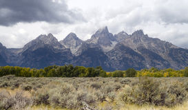 Overcast Day Jagged Peaks Grand Teton Wyoming Rocky Mountains Royalty Free Stock Photo