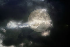Overcast full moon night. Seeing some iluminated whit clouds stock photography