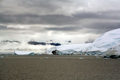 Overcast, glaciers falling into the sea. Cuverville Island,Antarctica Stock Photos