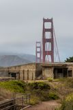 Overcast Golden Gate Bridge Battery Cranston Stock Photo