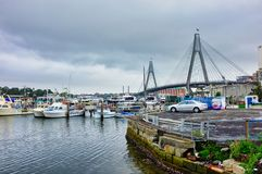 Overcast Morning, Inner Sydney Harbour and Anzac Bridge, Australia. Boats docked or moored in Blackwattle Bay, inner Sydney Harbour, and the modern ANZAC Bridge royalty free stock photography