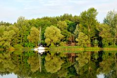 Overcast morning on the river in the summer. Ukraine royalty free stock image