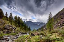 Overcast over mountain stream Stock Photos