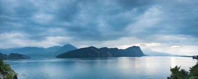 Overcast. Panorama of Lake Lucerne and the Alps in Switzerland background beauty clouds europe green landscape mountain natural nature outdoors overcast stock image