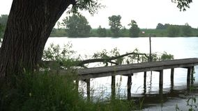 Overcast on river. Overcast on fishing river at summer evening stock footage