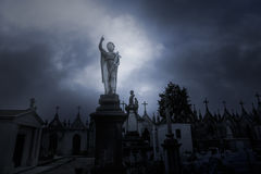 Overcast sad cemetery Stock Photography