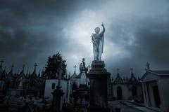 Overcast sad cemetery Stock Image