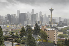 Overcast Seattle skyline with Space Needle royalty free stock photos